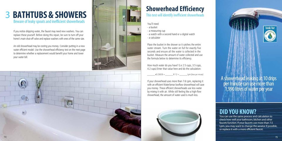 Consider putting in a new water efficient model. Use the showerhead efficiency test on the next page to determine whether a replacement would benefit your home and lower your water bill.