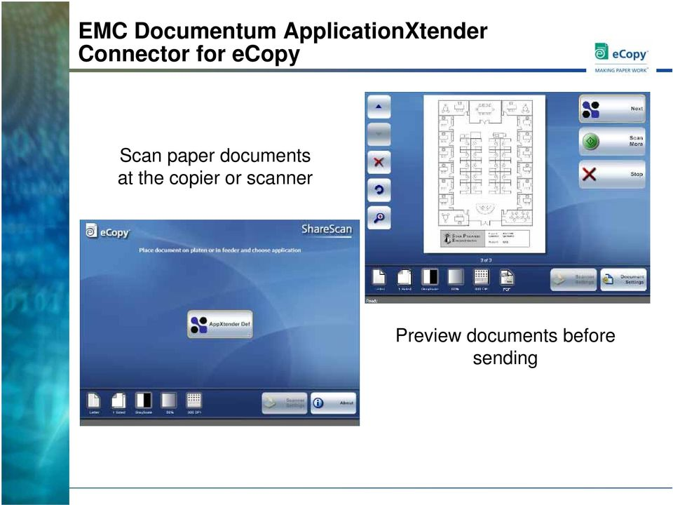 ecopy Scan paper documents at
