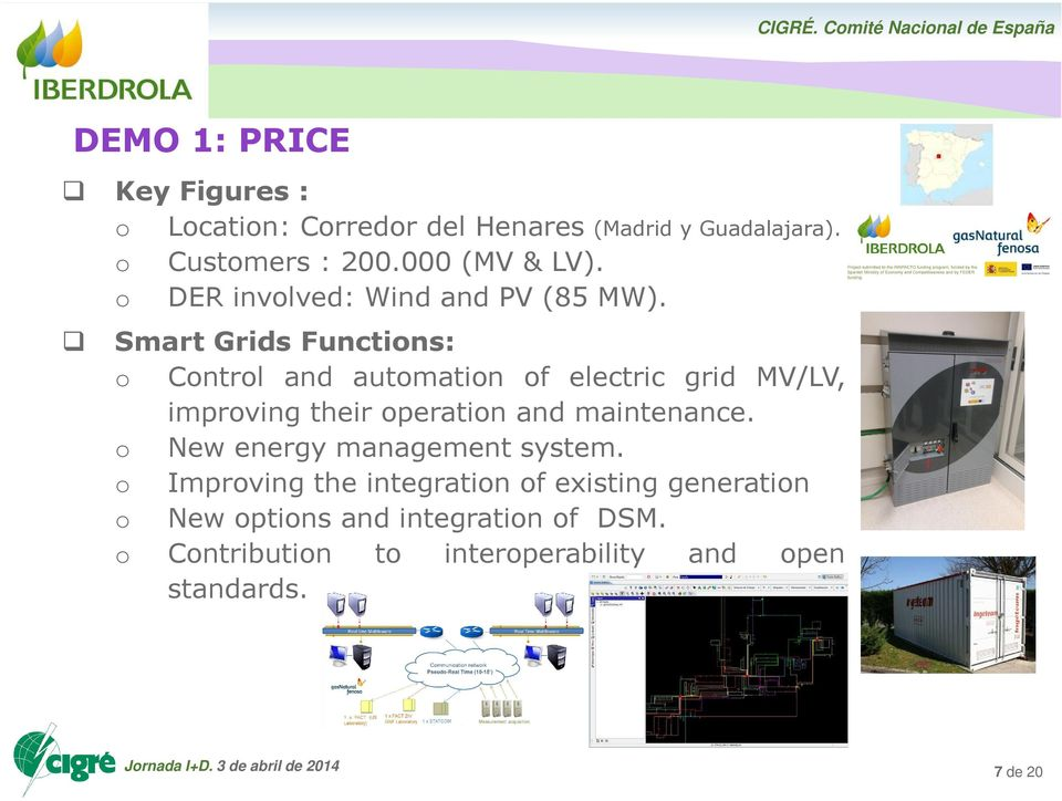 Smart Grids Functions: o Control and automation of electric grid MV/LV, improving their operation and