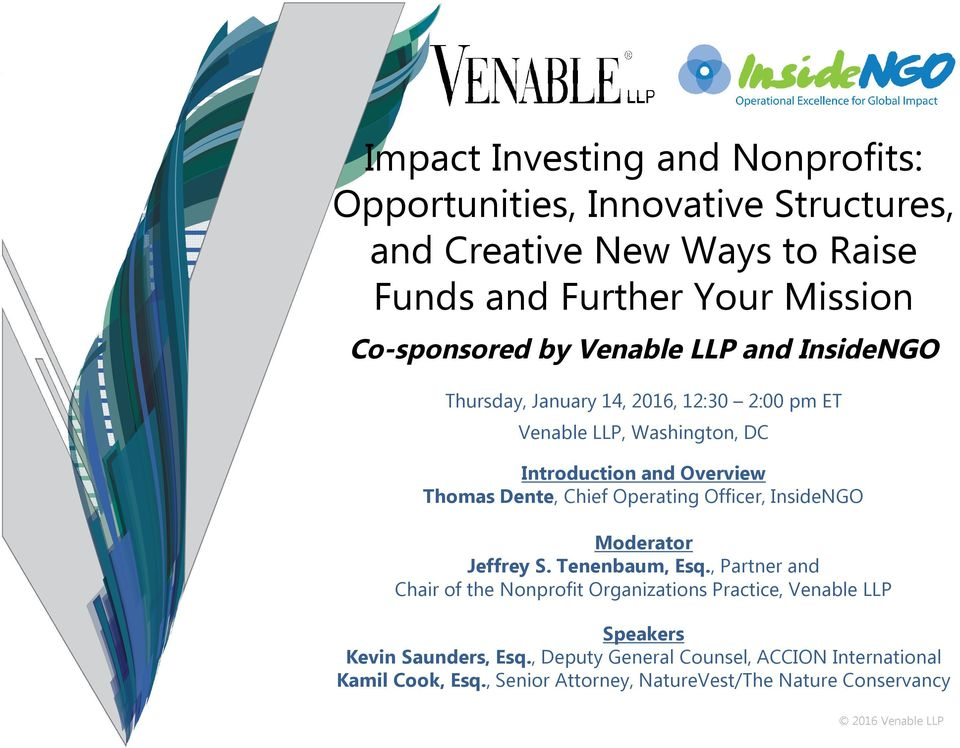 Impact Investing and Nonprofits: Opportunities, Innovative