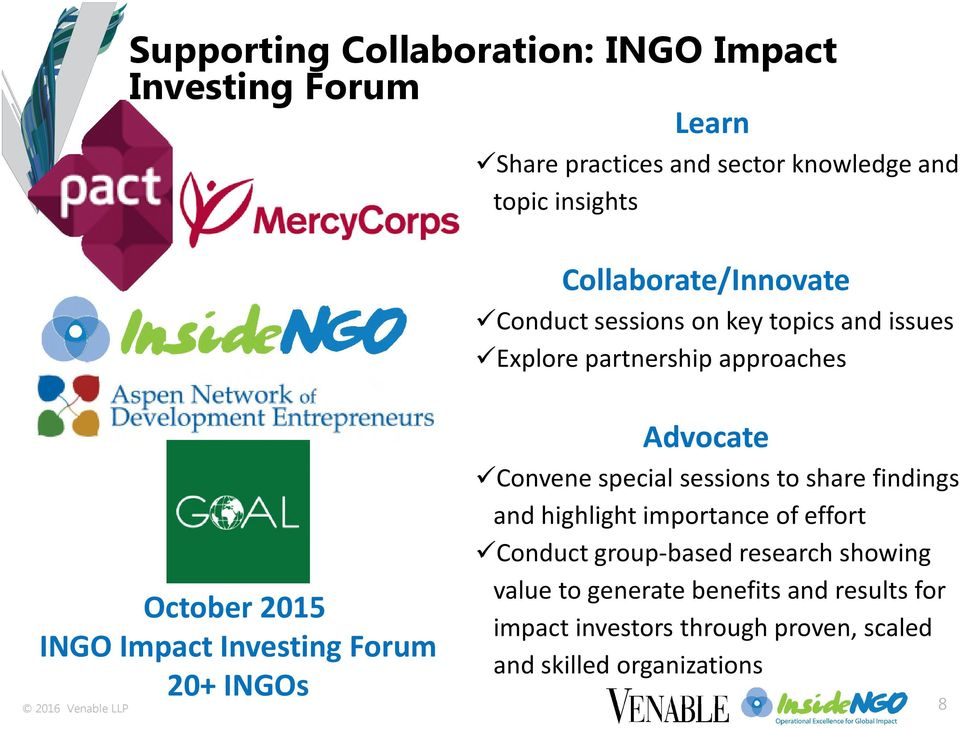 Impact Investing Forum 20+ INGOs Convene special sessions to share findings and highlight importance of effort Conduct