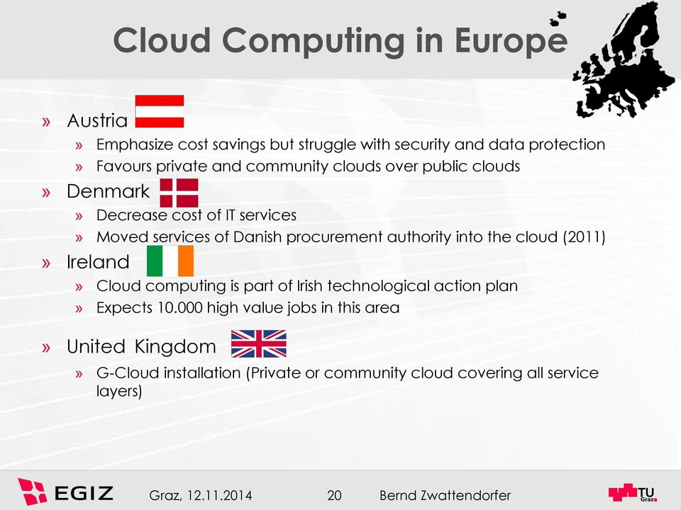 authority into the cloud (2011)» Ireland» Cloud computing is part of Irish technological action plan» Expects 10.