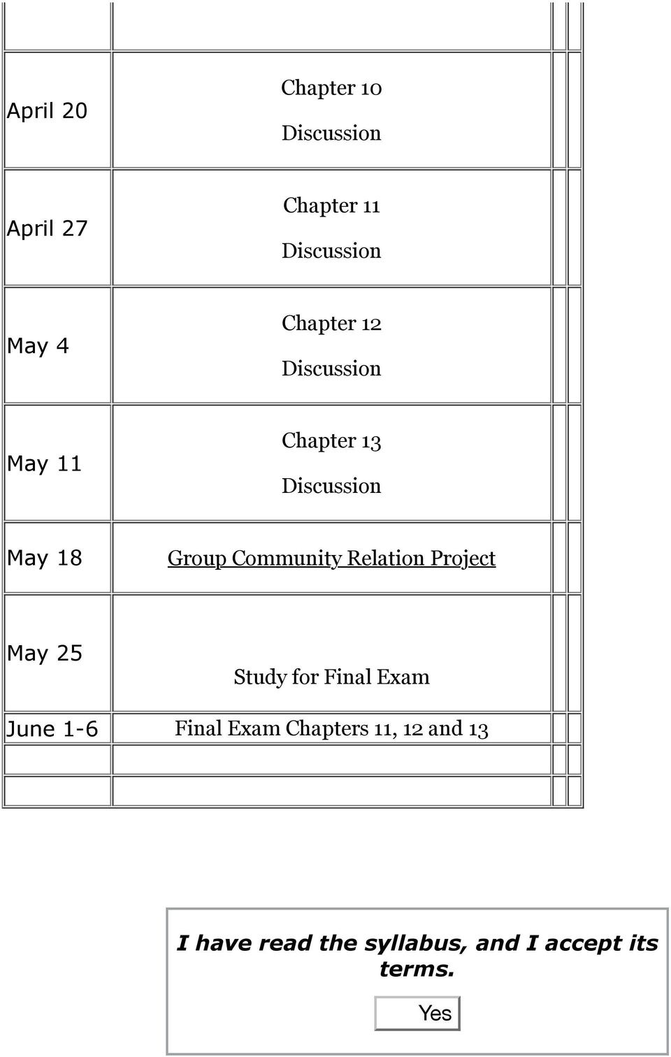 May 25 Study for Final Exam June 1-6 Final Exam Chapters