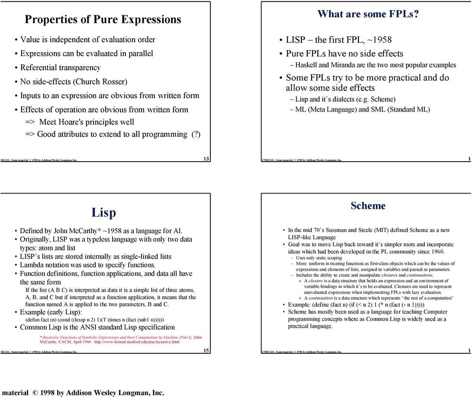 Effects of operation are obvious from written form LISP the first FPL, ~1958 Pure FPLs have no side effects Haskell and Miranda are the two most popular examples Some FPLs try to be more practical