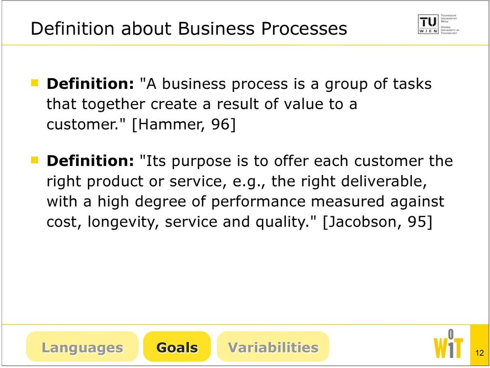 """ [Hammer, 96] Definition: ""Its purpose is to offer each customer the righ"