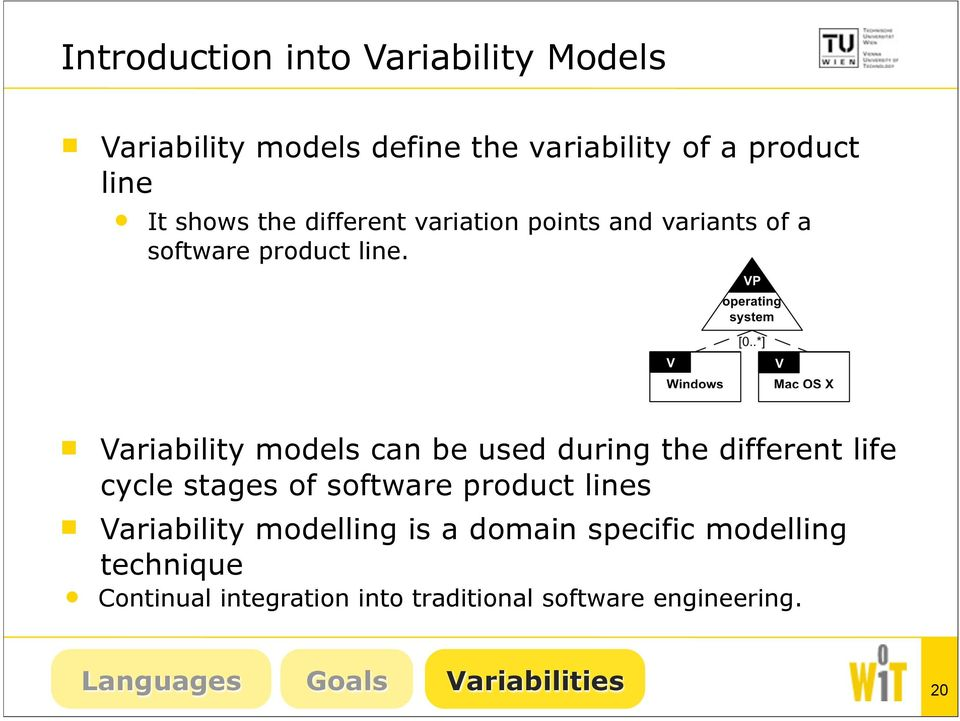 Variability models can be used during the different life cycle stages of software product lines Variability