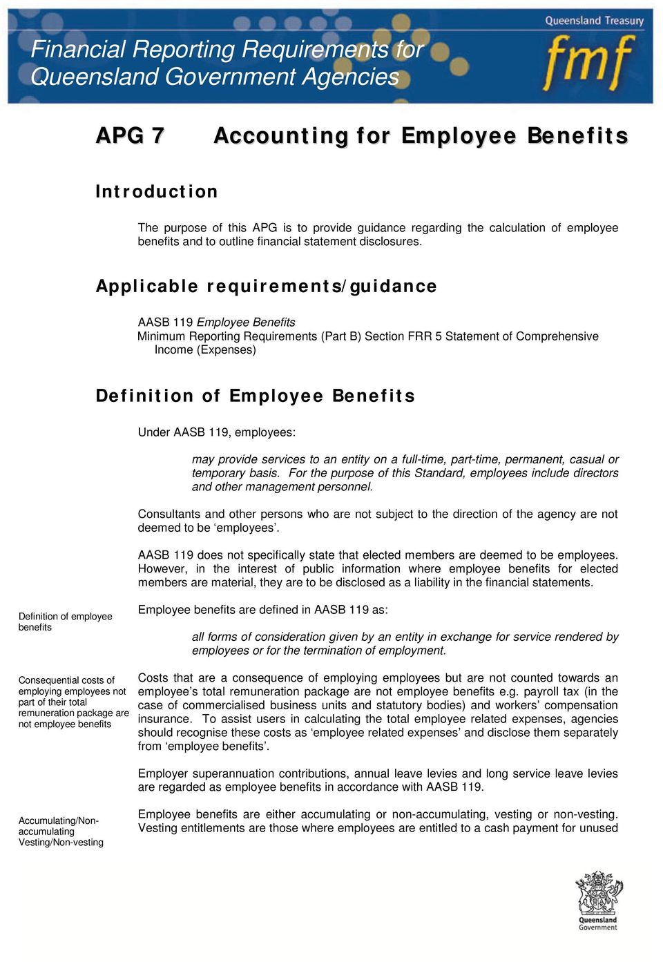 Applicable requirements/guidance AASB 119 Employee Benefits Minimum Reporting Requirements (Part B) Section FRR 5 Statement of Comprehensive Income (Expenses) Definition of Employee Benefits Under