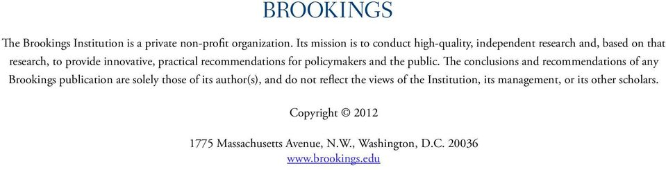 recommendations for policymakers and the public.