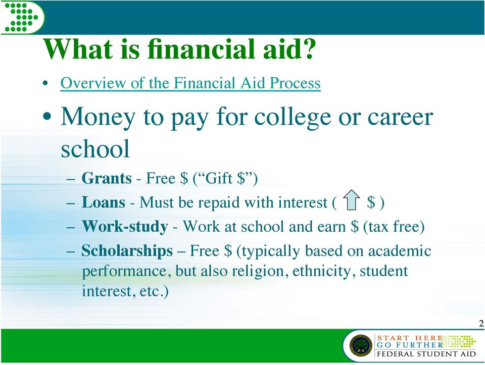 Grants - Free $ ( Gift $ ) Loans - Must be repaid with interest ( $ ) Work-study -