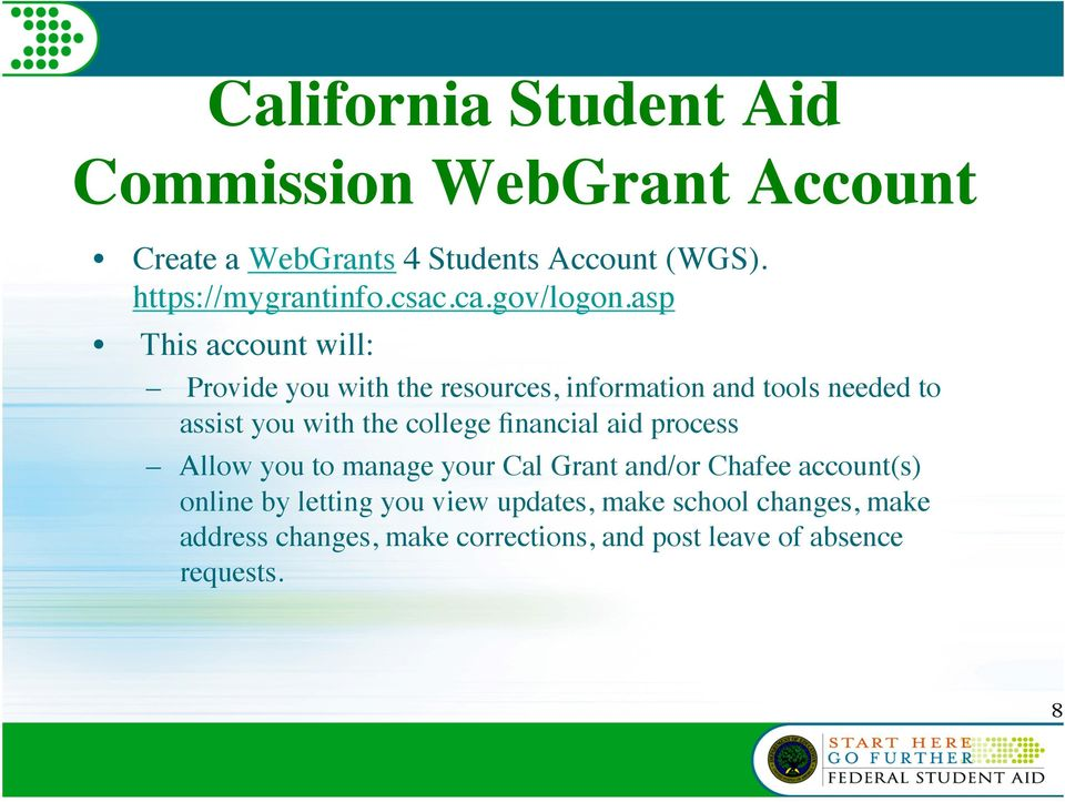 asp This account will: Provide you with the resources, information and tools needed to assist you with the college