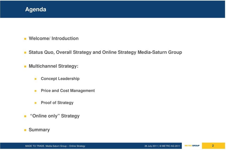 Multichannel Strategy: Concept Leadership Price and