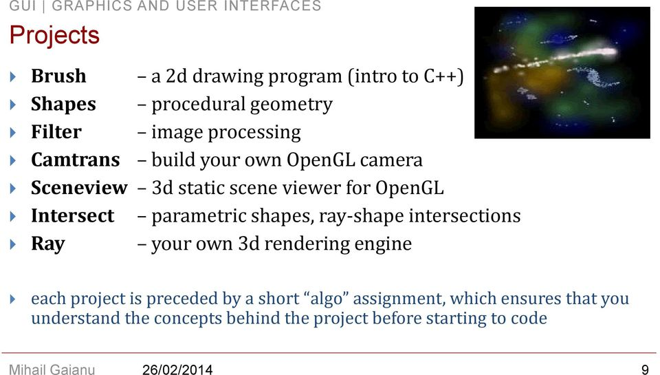shapes, ray-shape intersections Ray your own 3d rendering engine each project is preceded by a short algo