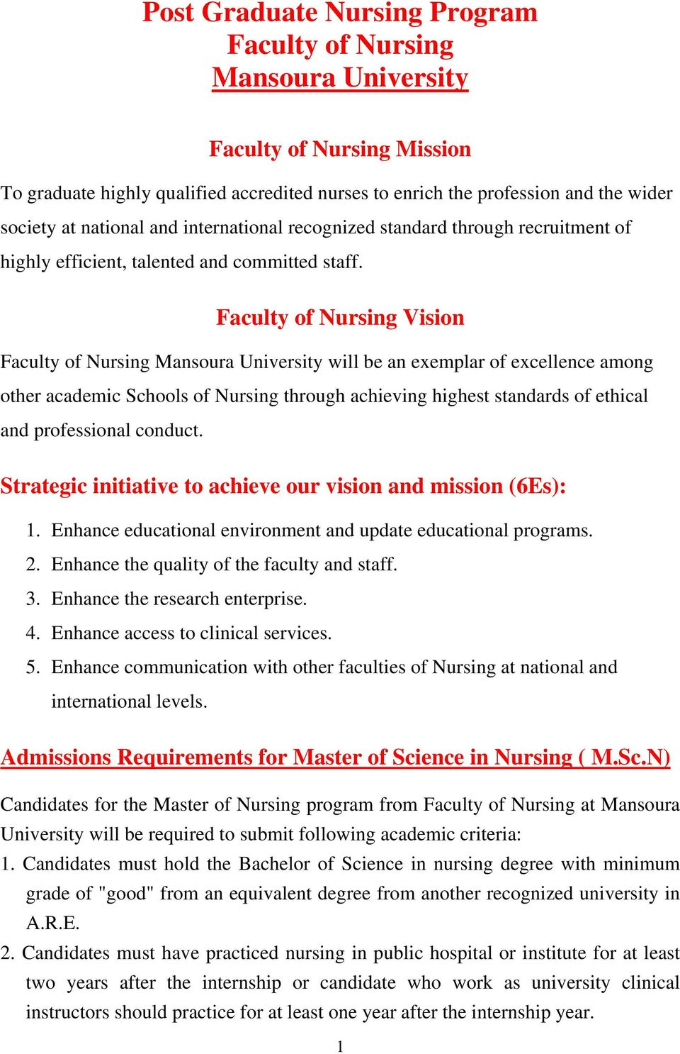 Faculty of Nursing Vision Faculty of Nursing Mansoura University will be an exemplar of excellence among other academic Schools of Nursing through achieving highest standards of ethical and