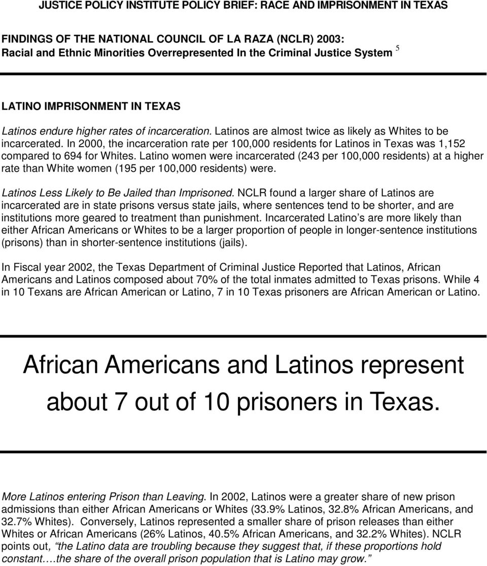 In 2000, the incarceration rate per 100,000 residents for Latinos in Texas was 1,152 compared to 694 for Whites.