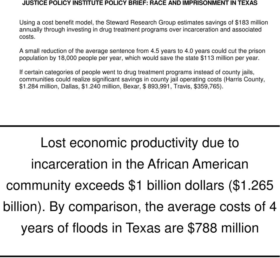0 years could cut the prison population by 18,000 people per year, which would save the state $113 million per year.