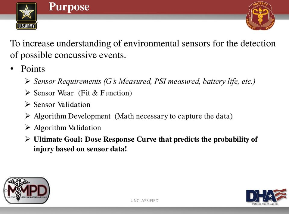 ) Sensor Wear (Fit & Function) Sensor Validation Algorithm Development (Math necessary to capture the