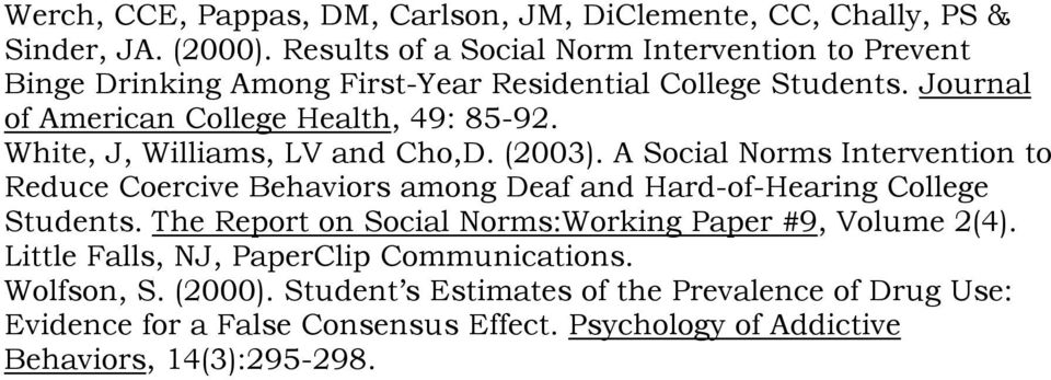 White, J, Williams, LV and Cho,D. (2003). A Social Norms Intervention to Reduce Coercive Behaviors among Deaf and Hard-of-Hearing College Students.