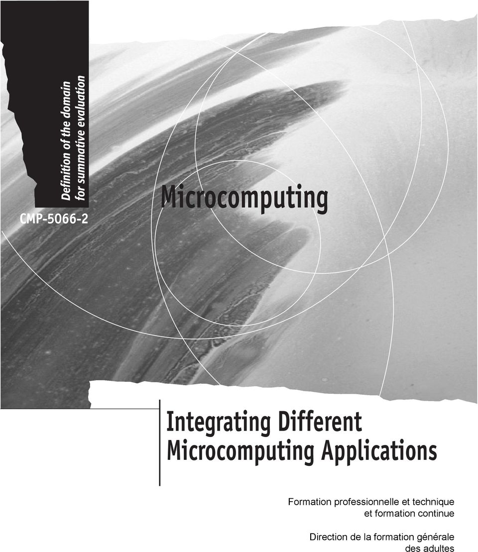 Microcomputing Applications Formation professionnelle et