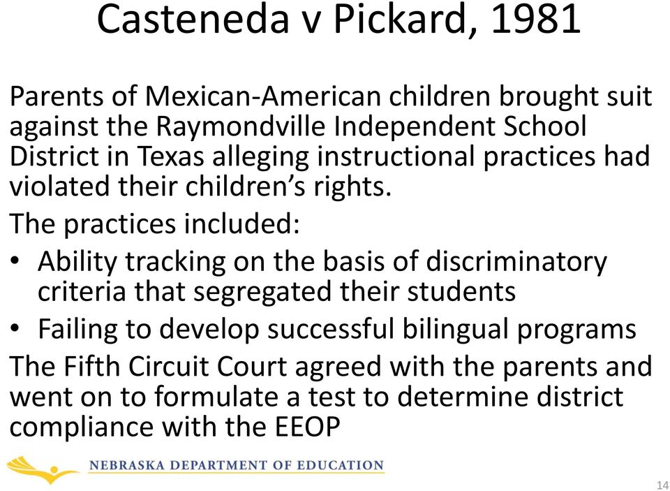 The practices included: Ability tracking on the basis of discriminatory criteria that segregated their students Failing to