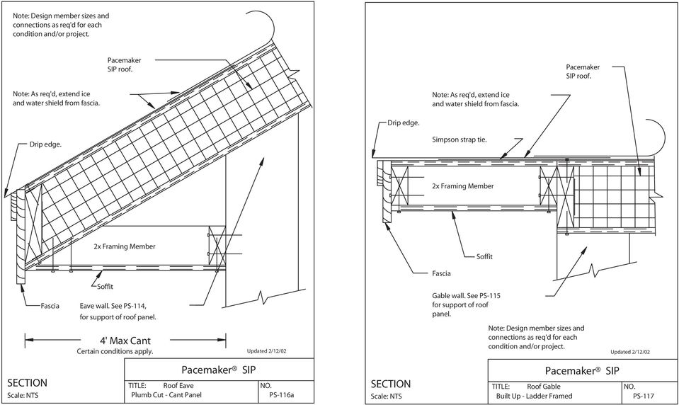 2x Framing Member 2x Framing Member Soffit Fascia Fascia Soffit Eave wall. See PS-114, for support of roof panel. 4' Max Cant Certain conditions apply.