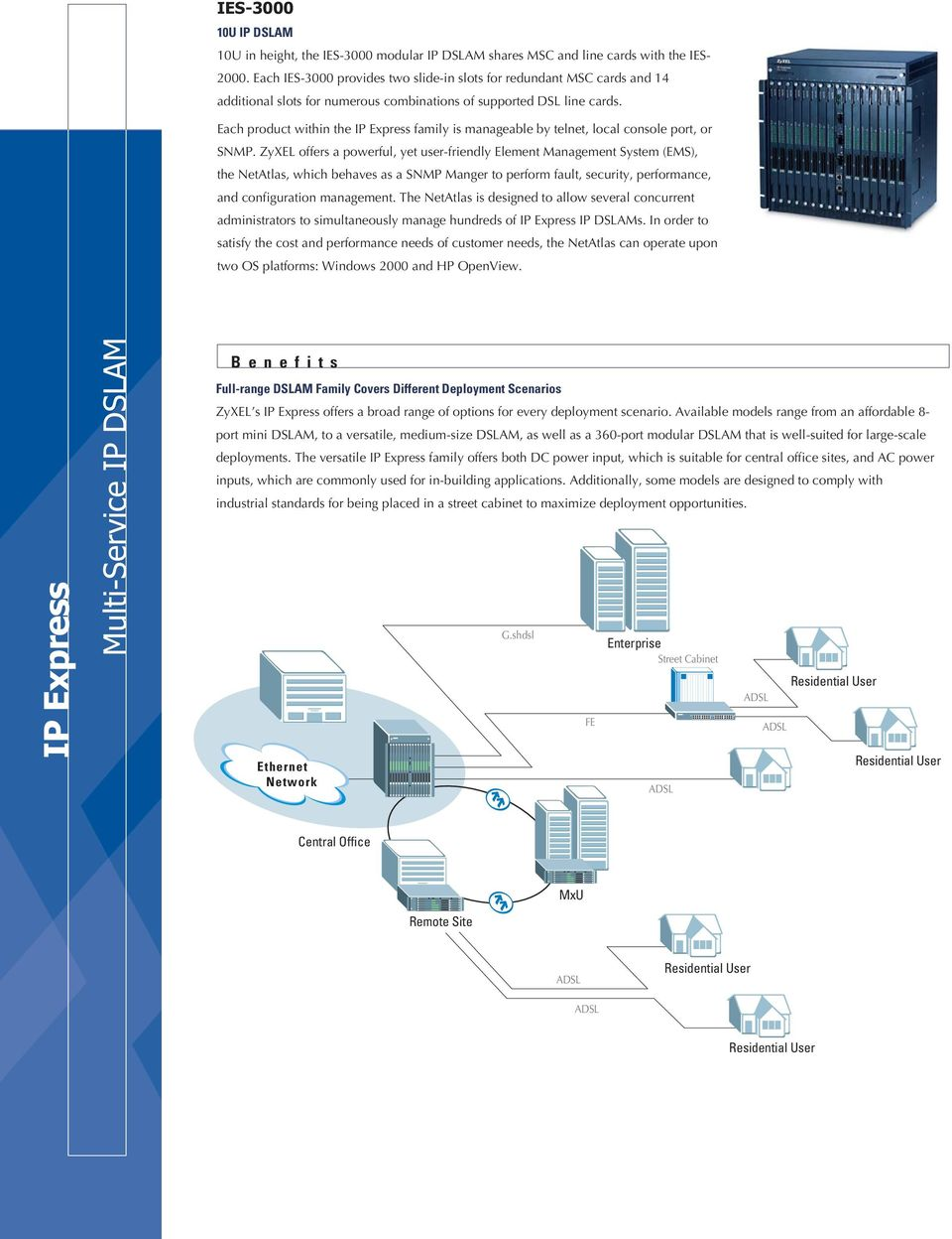Each product within the IP Express family is manageable by telnet, local console port, or SNMP.