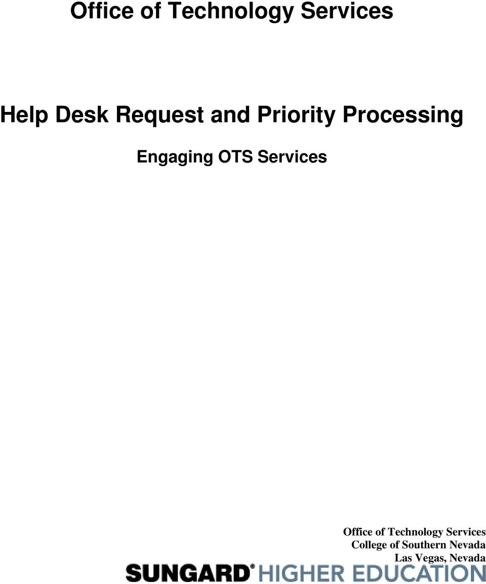 OTS Services Office of Technology