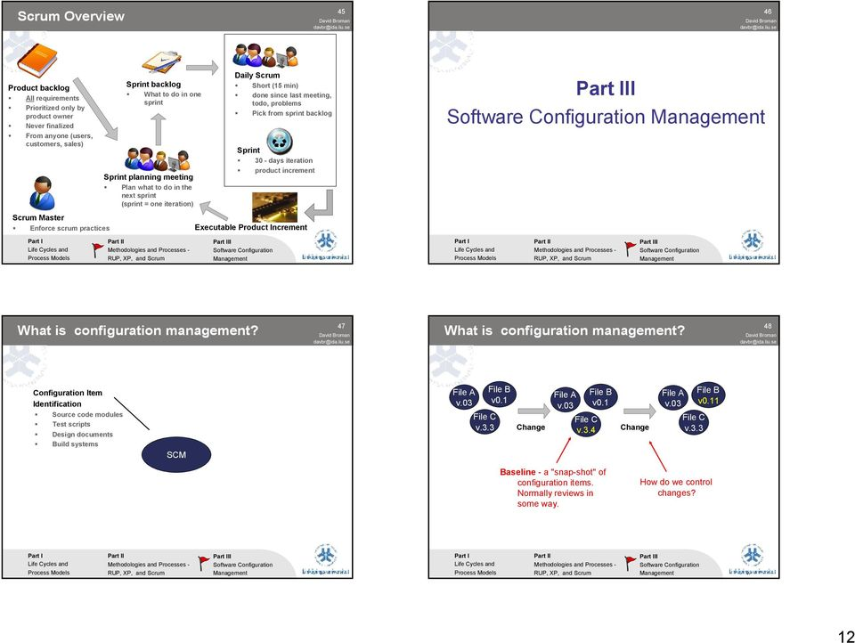 iteration) Scrum Master Enforce scrum practices Executable Product Increment I I What is configuration management? 47 What is configuration management?