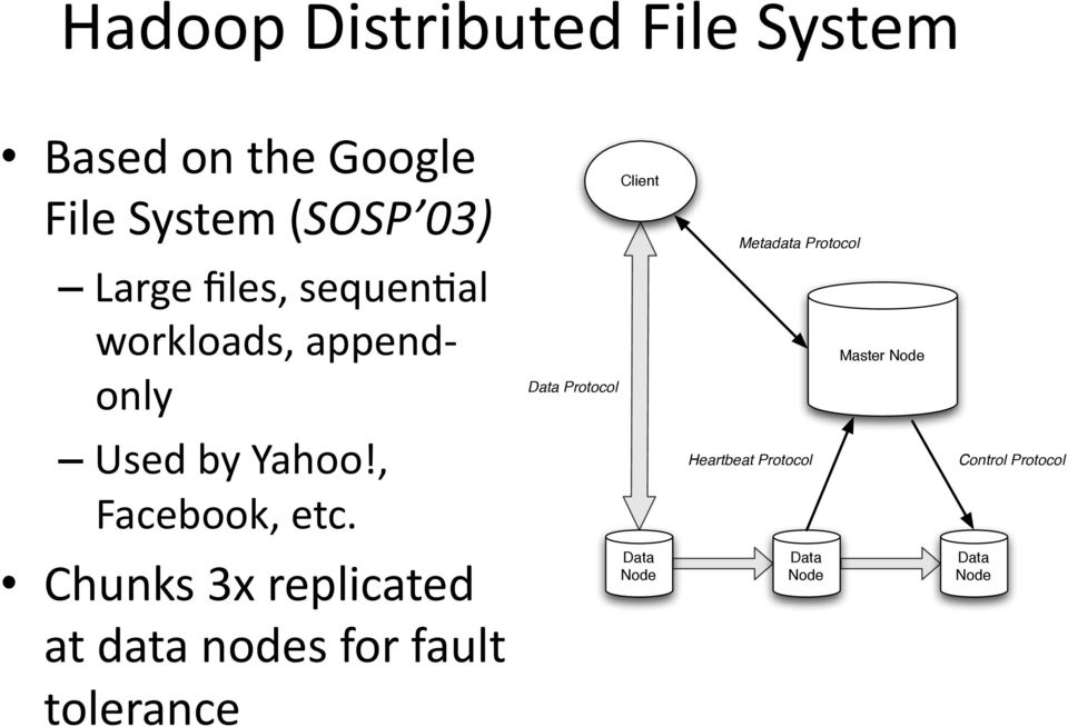 Chunks 3x replicated at data nodes for fault tolerance Data Protocol Client Data