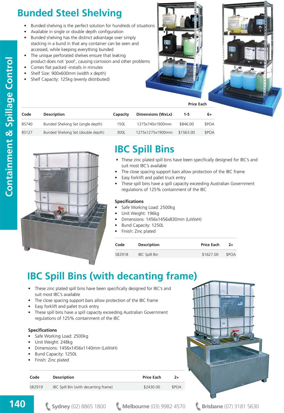 other problems Comes flat packed -installs in minutes Shelf Size: 900x600mm (width x depth) Shelf Capacity: 125kg (evenly distributed) IBC Spill Bins Code Description Capacity Dimensions (WxLx) 1 5