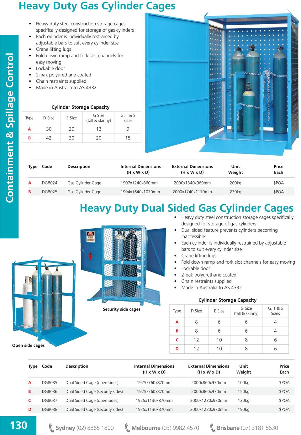 Size Cylinder Storage Capacity G Size (tall & skinny) G, T & S Sizes A 30 20 12 9 B 42 30 20 15 Type Code Description Internal Dimensions External Dimensions Unit Price (H x W x D) (H x W x D) Weight