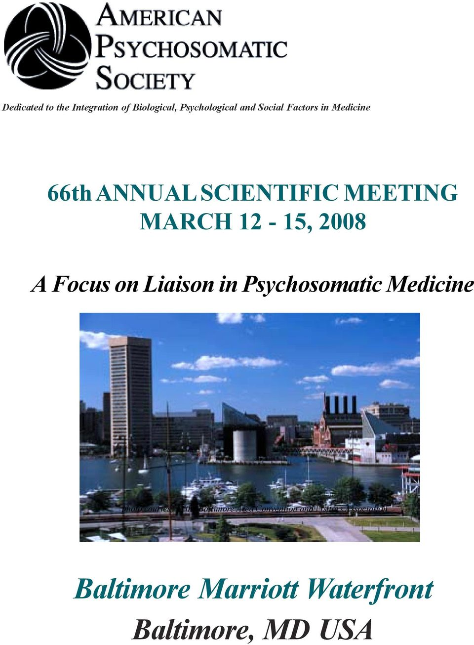 Focus on Liaison in Psychosomatic Medicine photo courtesy of the Baltimore