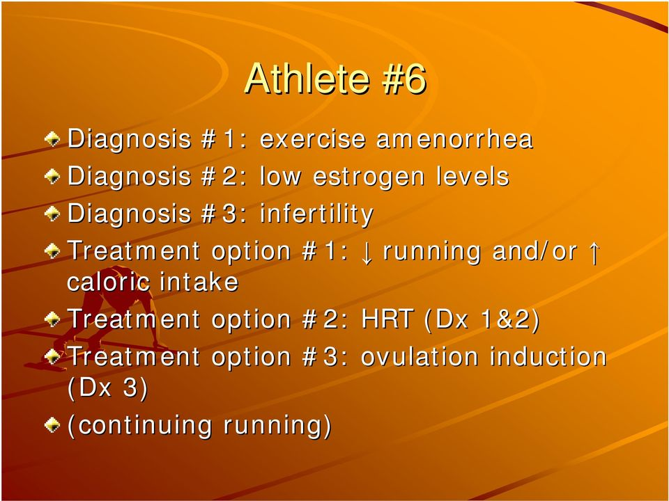 running and/or caloric intake Treatment option #2: HRT (Dx( 1&2)