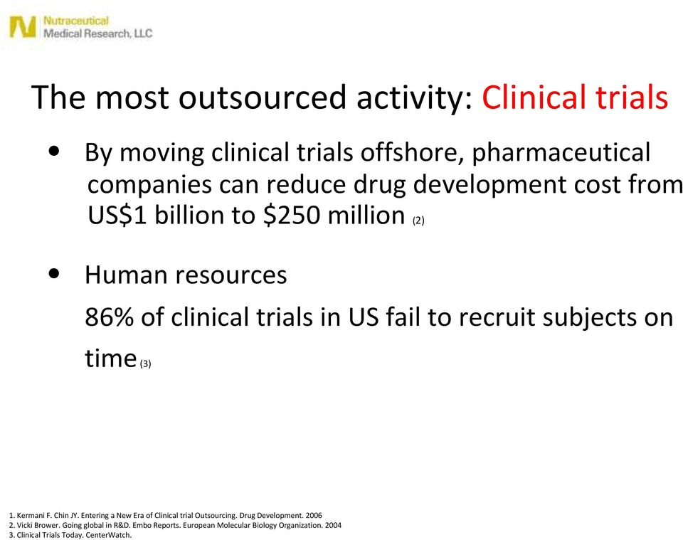 subjects on time(3) 1. Kermani F. Chin JY. Entering a New Era of Clinical trial Outsourcing. Drug Development. 2006 2.