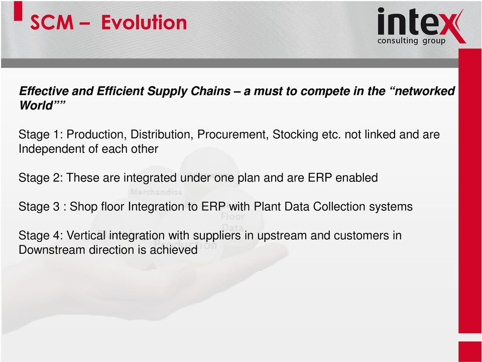 not linked and are Independent of each other Stage 2: These are integrated under one plan and are ERP enabled