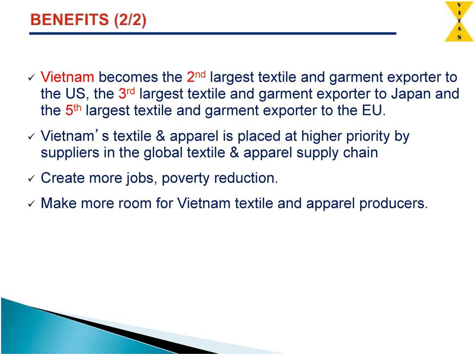# Vietnam s textile & apparel is placed at higher priority by suppliers in the global textile &