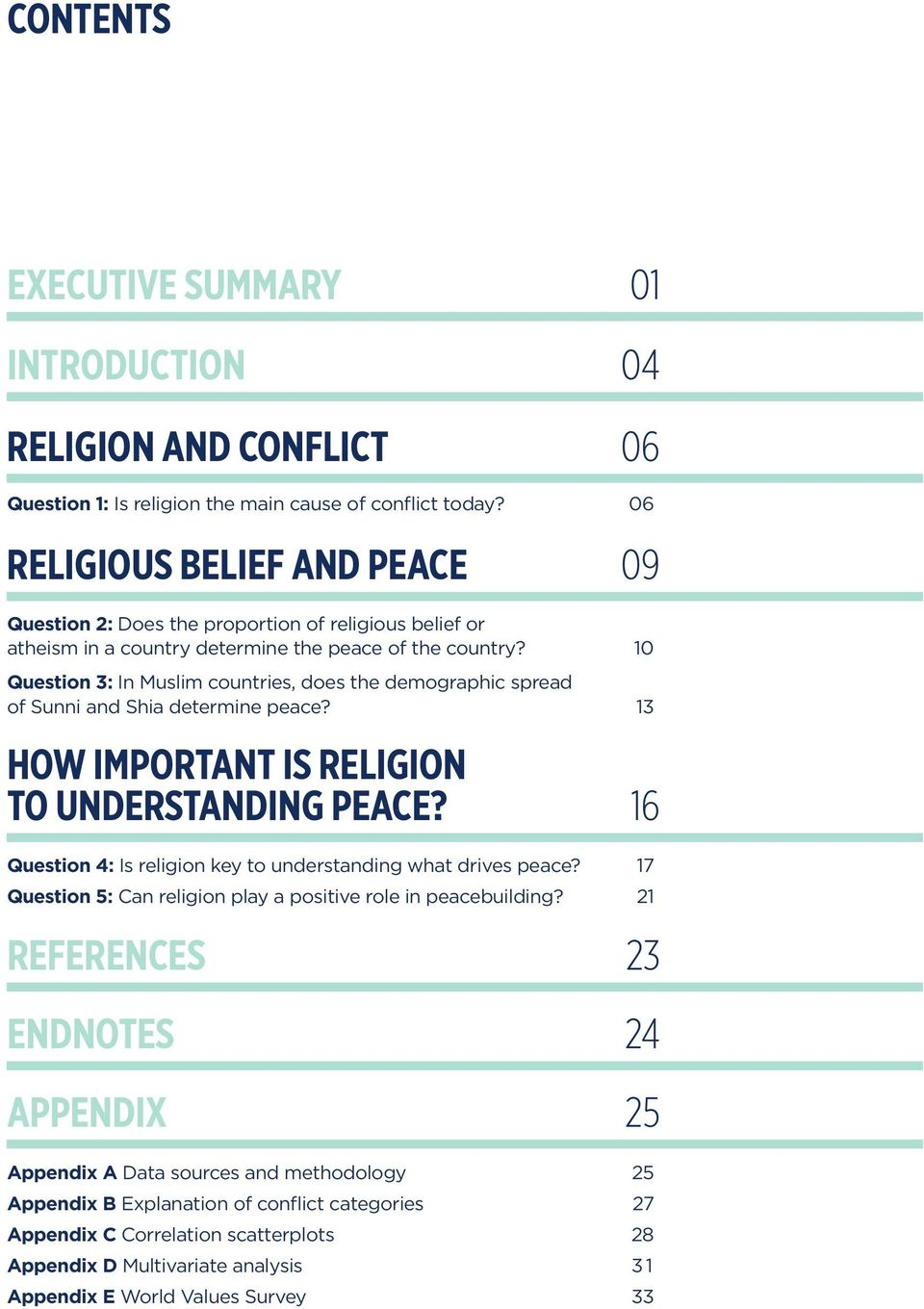 10 Question 3: In Muslim countries, does the demographic spread of Sunni and Shia determine peace? 13 HOW IMPORTANT IS RELIGION TO UNDERSTANDING PEACE?