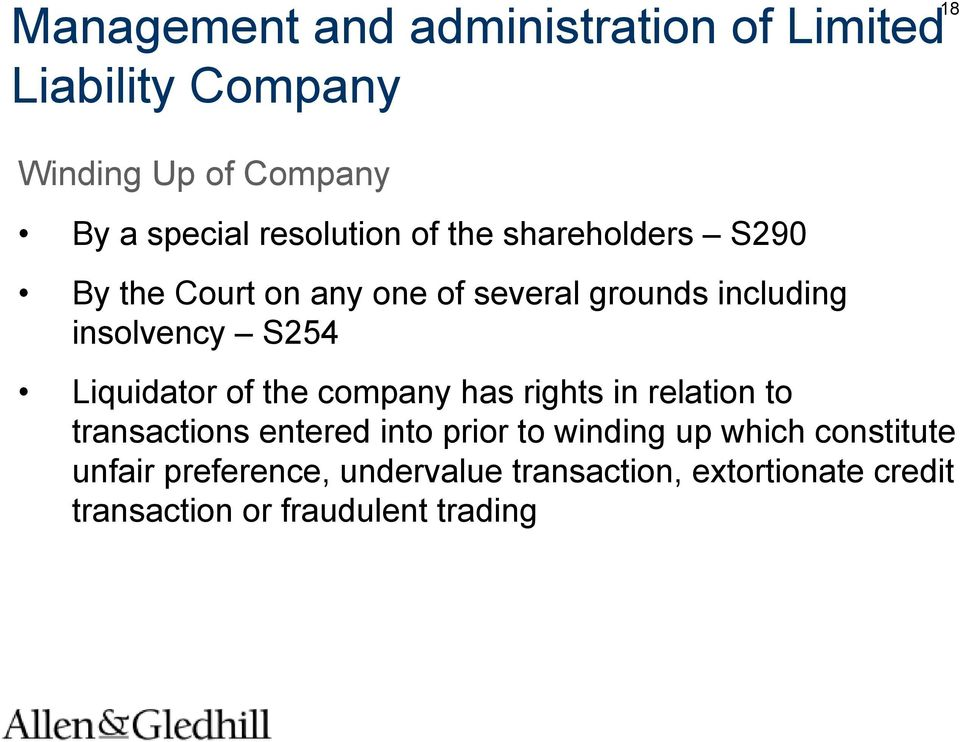 S254 Liquidator of the company has rights in relation to transactions entered into prior to winding up
