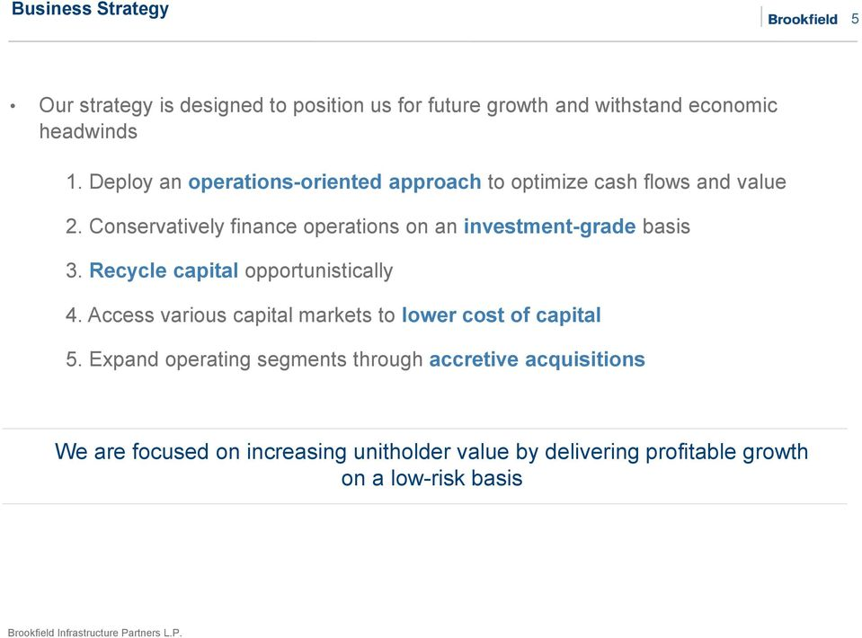 Conservatively finance operations on an investment-grade basis 3. Recycle capital opportunistically 4.