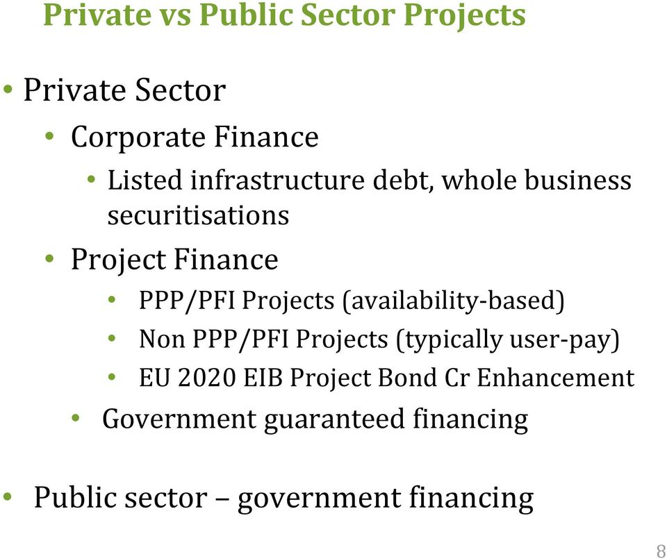 Projects (availability-based) Non PPP/PFI Projects (typically user-pay) EU 2020