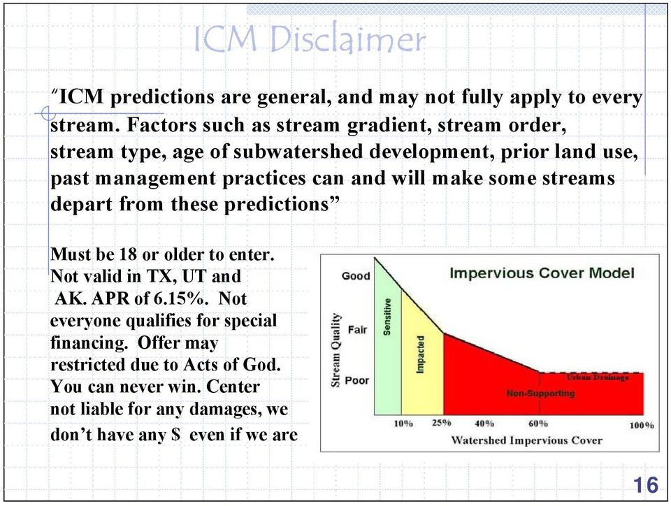 practices can and will make some streams depart from these predictions Must be 18 or older to enter. Not valid in TX, UT and AK.