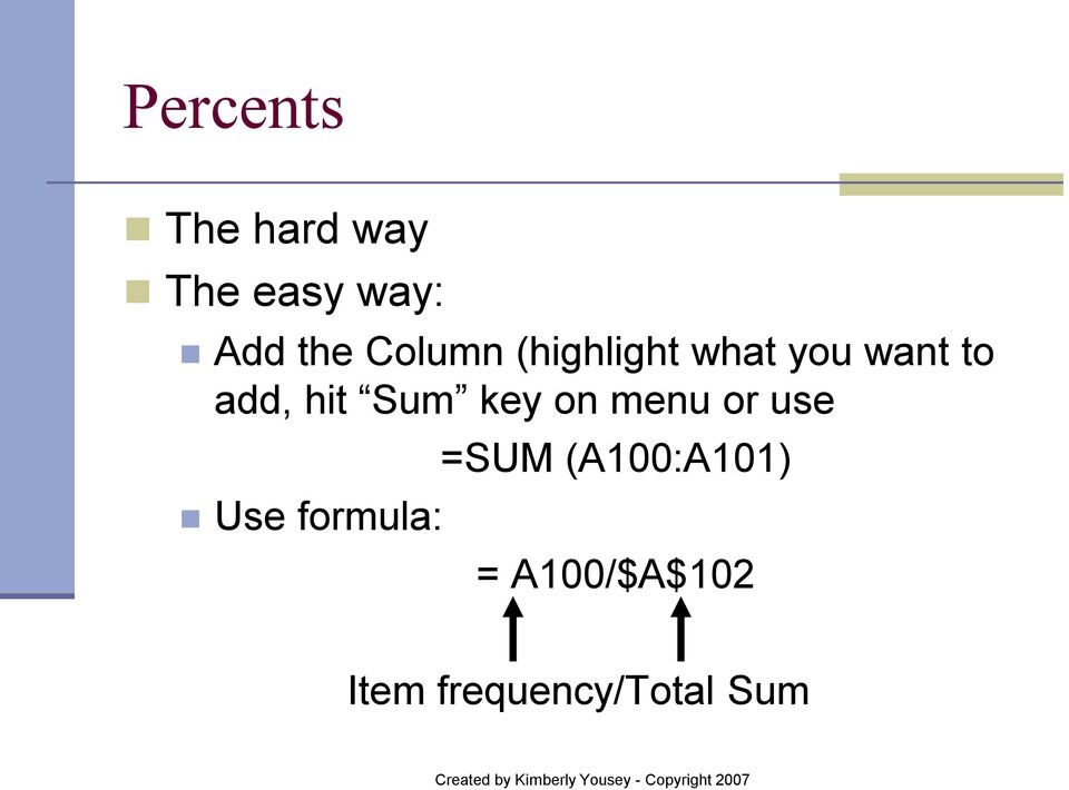Sum key on menu or use Use formula: =SUM