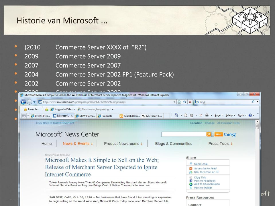 Server 2007 2004 Commerce Server 2002 FP1 (Feature Pack) 2002 Commerce Server