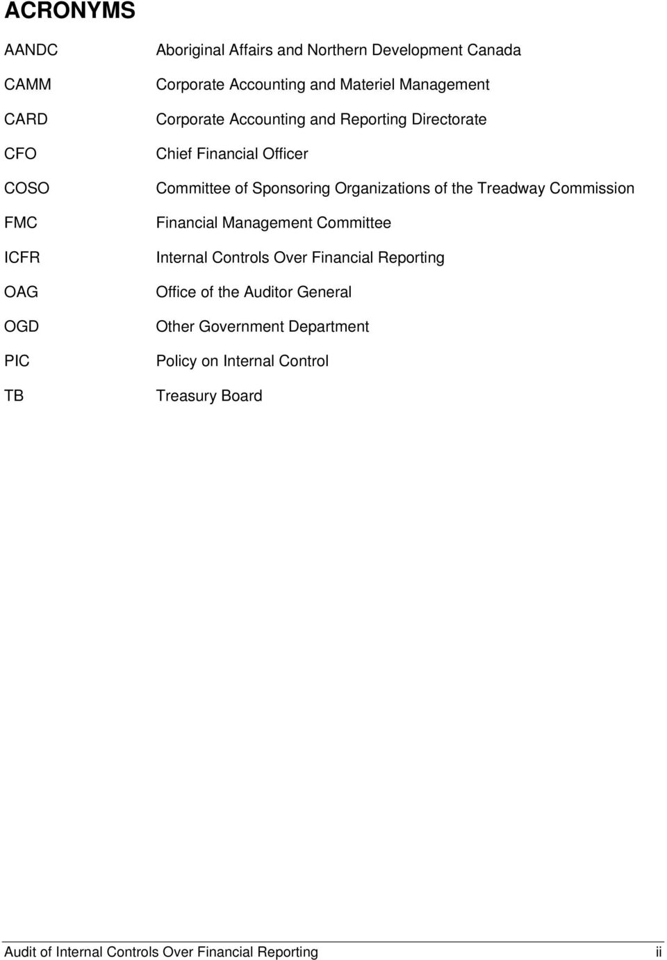 Organizations of the Treadway Commission Financial Management Committee Internal Controls Over Financial Reporting Office of the