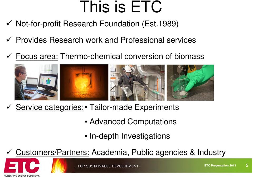 Thermo-chemical conversion of biomass Service categories: Tailor-made