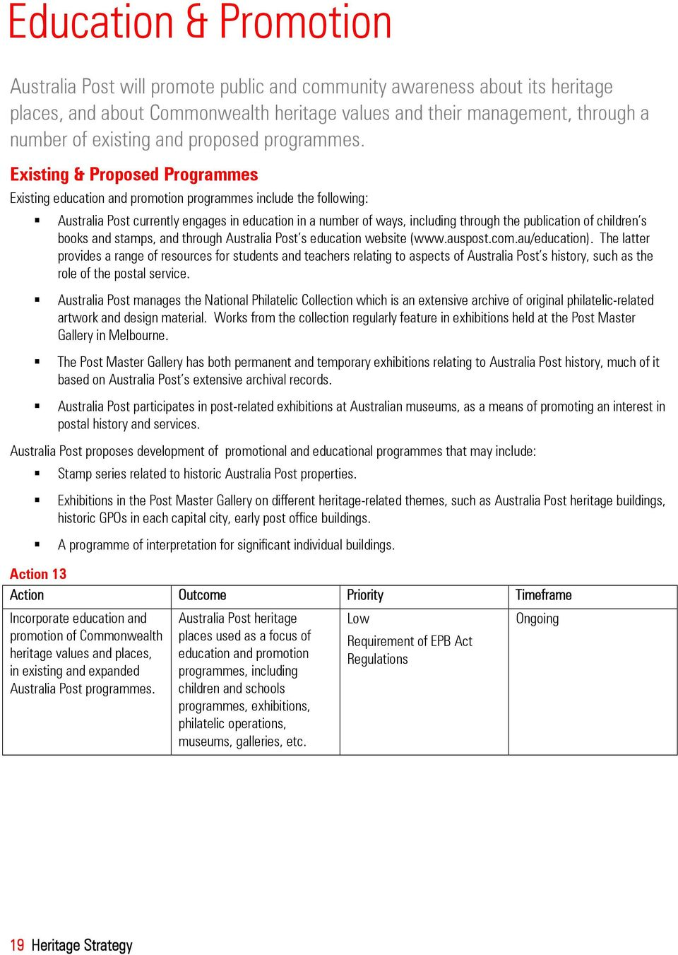 Existing & Proposed Programmes Existing education and promotion programmes include the following: Australia Post currently engages in education in a number of ways, including through the publication