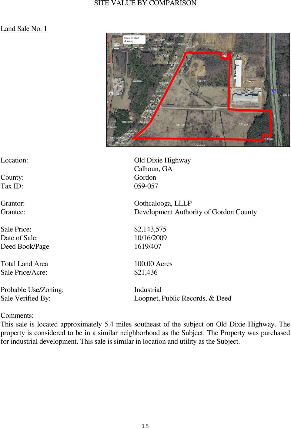 Date of Sale: 10/16/2009 Deed Book/Page 1619/407 Total Land Area 100.