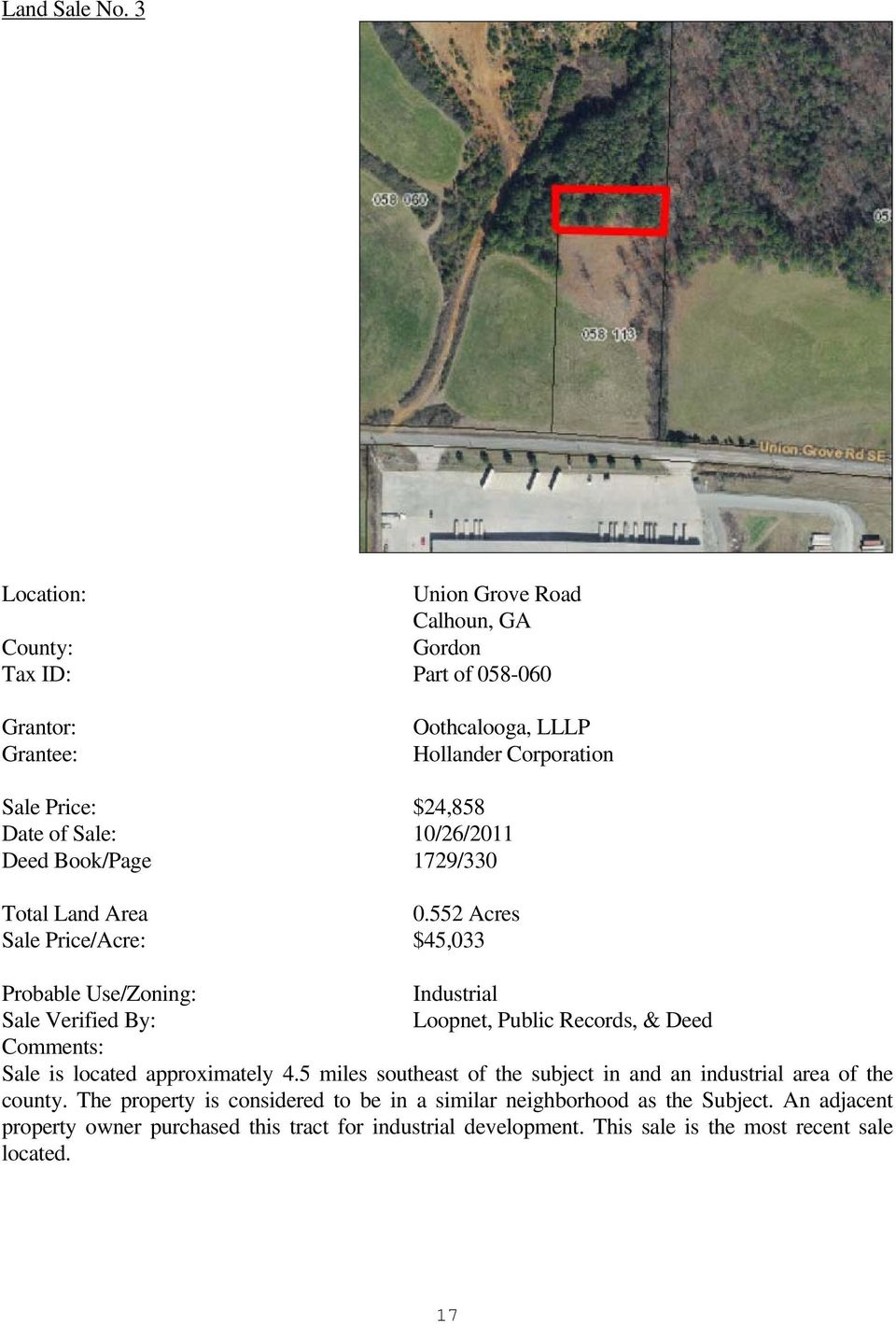 Sale: 10/26/2011 Deed Book/Page 1729/330 Total Land Area 0.