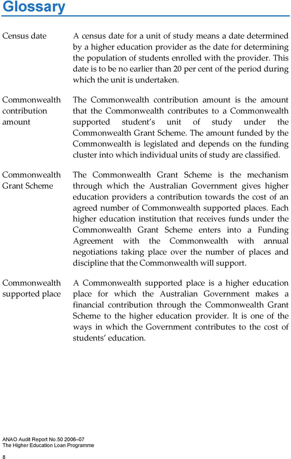 The Commonwealth contribution amount is the amount that the Commonwealth contributes to a Commonwealth supported student s unit of study under the CommonwealthGrantScheme.