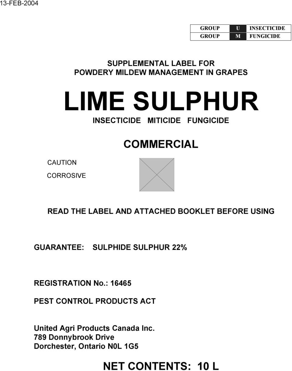ATTACHED BOOKLET BEFORE USING GUARANTEE: SULPHIDE SULPHUR 22% REGISTRATION No.