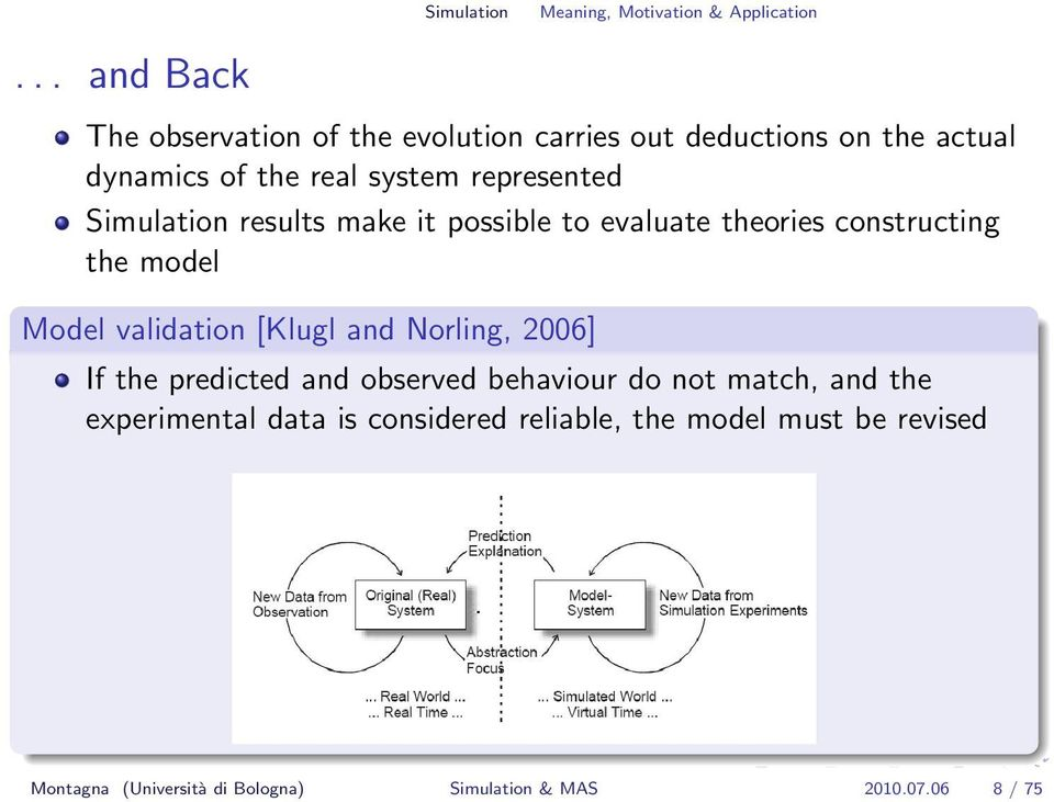 Simulation results make it possible to evaluate theories constructing the model Model validation [Klugl and Norling,